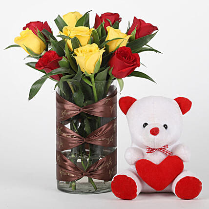 Red & Yellow Roses Vase with Teddy Bear Combo