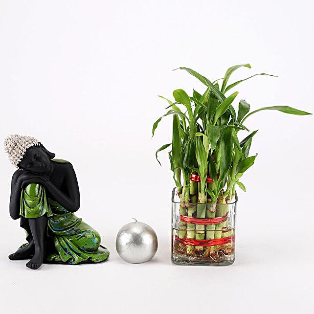 Relaxing Buddha & Bamboo Plant Combo