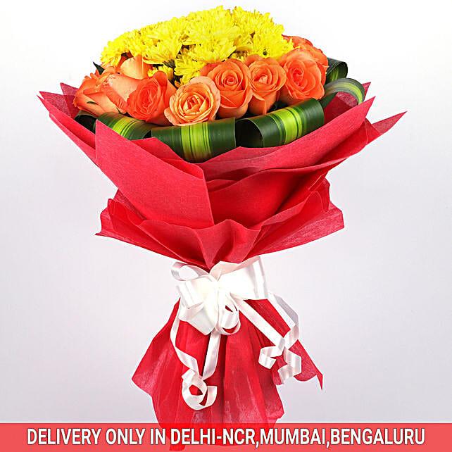 Yellow Orange Chromatic Flower Bouquet