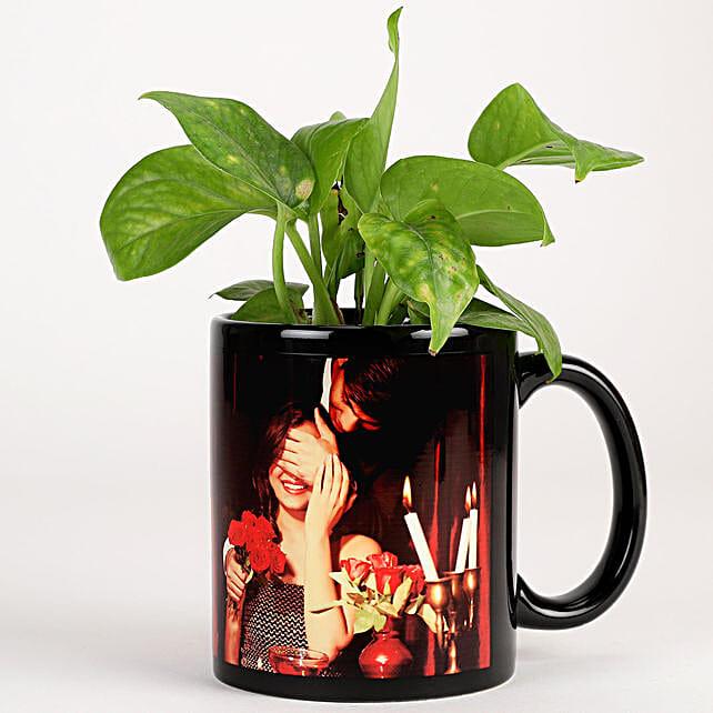 Money Plant In Black Personalised Mug
