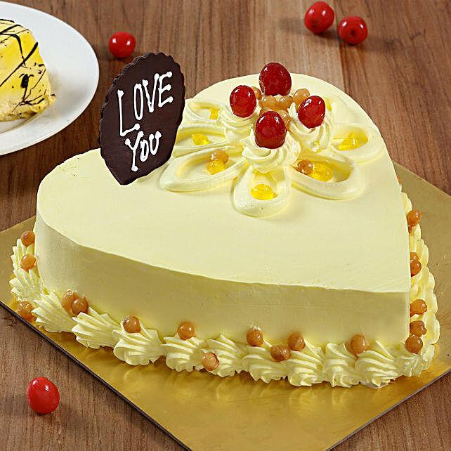 Heart Shaped Butterscotch Cake- 1 Kg