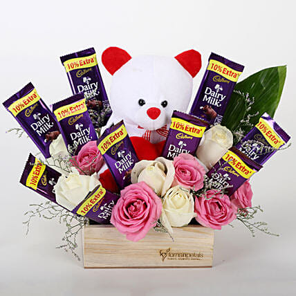 Rose and Chocolate Combo Arrangement:Hug Day Soft Toys
