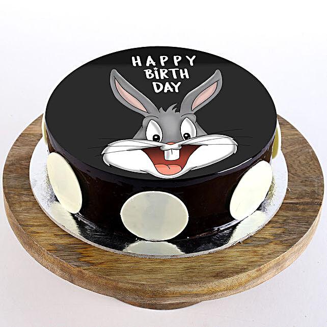 Bugs Bunny Chocolate Photo Cake- Half Kg Eggless