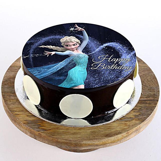 Elsa Chocolate Photo Cake- Half Kg