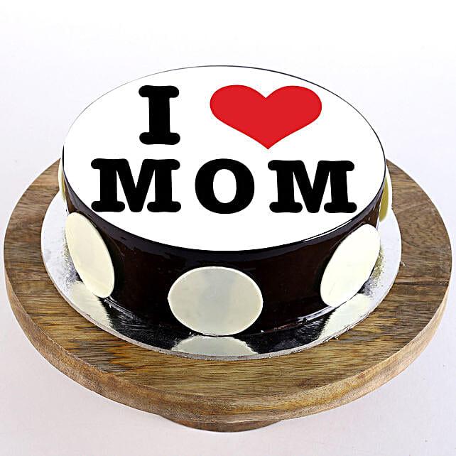 I Love Mom Chocolate Truffle Cake- Half Kg Eggless