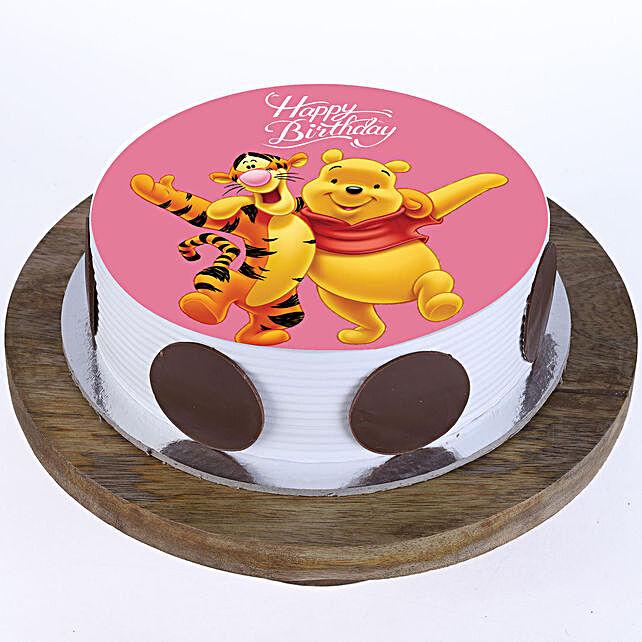 Pooh & Tigger Photo Cake- Pineapple Half Kg Eggless