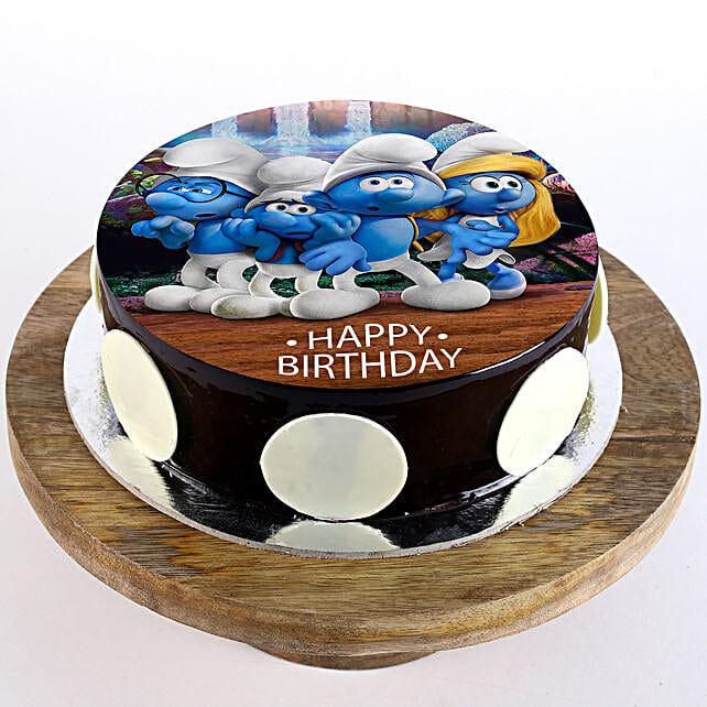 The Smurfs Chocolate Photo Cake- Half Kg