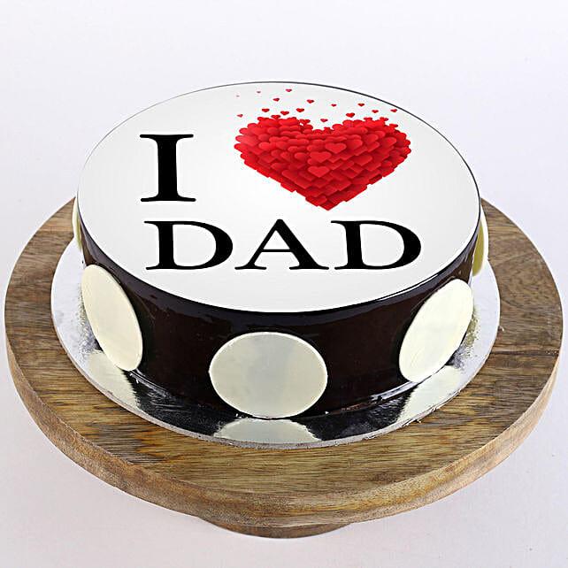 I Love Dad Photo Cake- Chocolate Half Kg Eggless