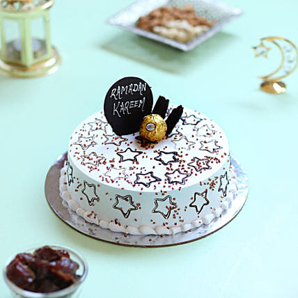 Starry Ramadan Black Forest Cake- Half Kg Eggless