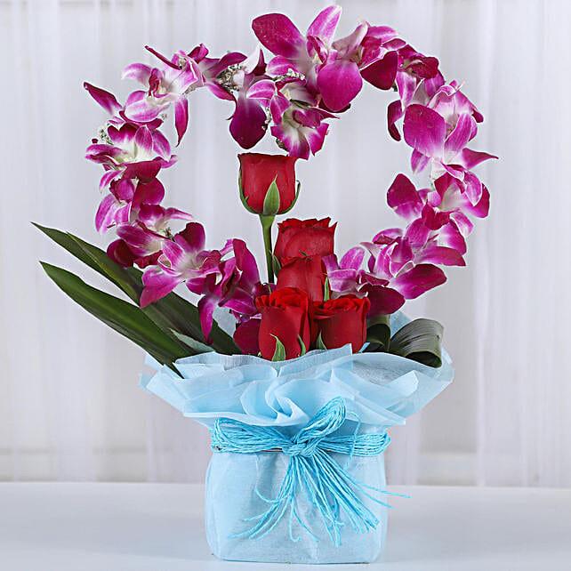 Romantic Heart Shaped Orchids Arrangement