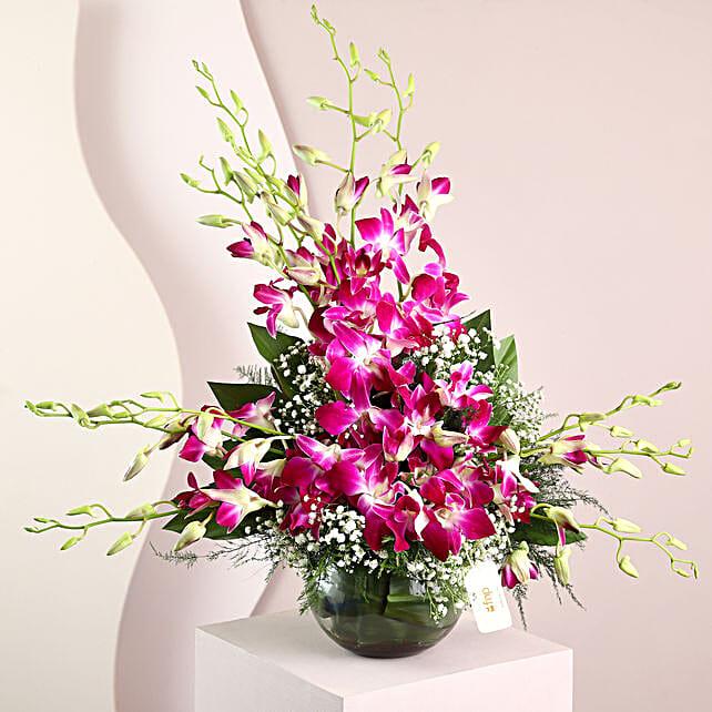 Purple Orchids Vase Arrangement