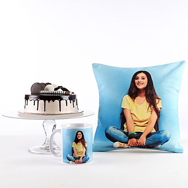 Photo Cushion Mug Chocolate Cake Combo For Her