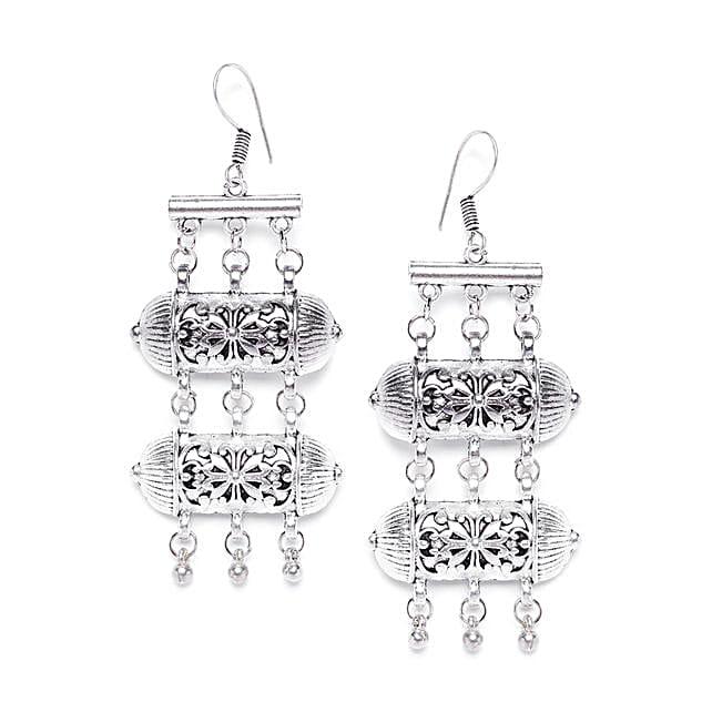 Layered Danglers With Metallic Bells:Earrings For Women