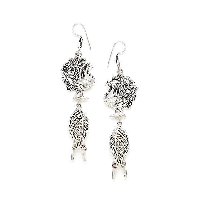 Layered Peacock Oxidized Silver Earrings:Earrings For Women