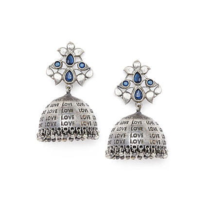 Love Silver Plated Earrings With Floral Embellishments