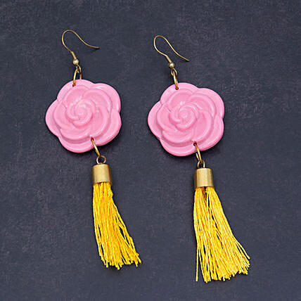 Pink Rose With Yellow Tassel Earrings