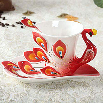 Hand Painted Peacock Tea Cup Set