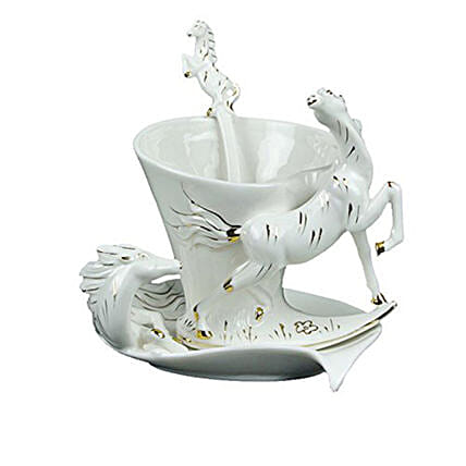 White Horse Themed Cup & Saucer Set