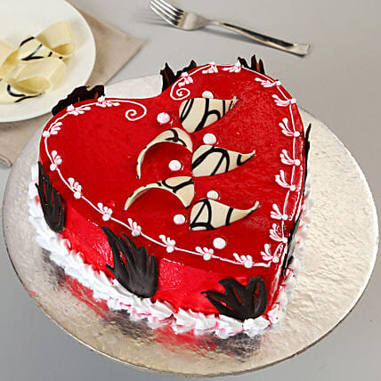 Decorated Red Heart Cake Half Kg Chocolate