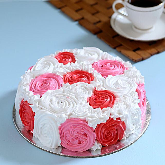Yummy Colourful Rose Cake Half Kg Vanilla