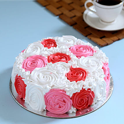 Yummy Colourful Rose Cake 2 Kg Vanilla