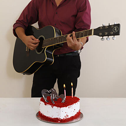 guitarist surprise with cake combo