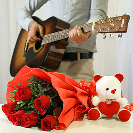 Online Red Roses And Teddy With Romantic Tunes Combo