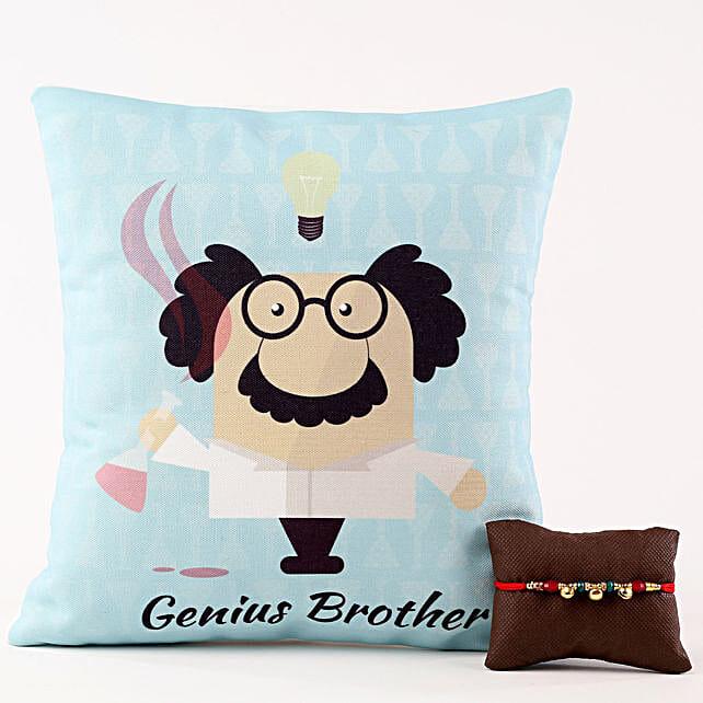 Genius Brother Cushion & Designer Bells Rakhi
