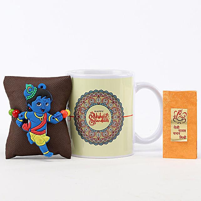 Printed Rakhi Mug & Little Krishna Rakhi