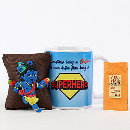 Superhero Brother Mug & Little Krishna Rakhi