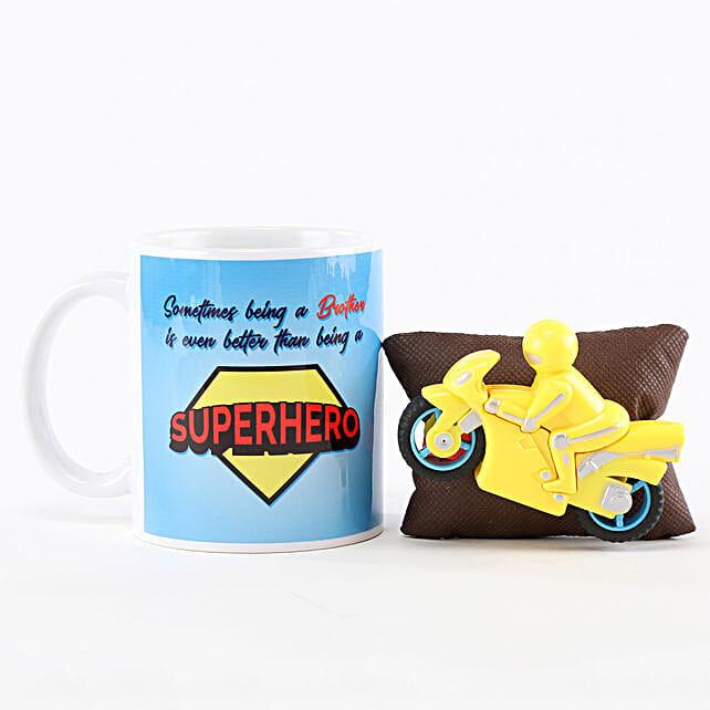 Superhero Brother Mug & Motorcycle Rakhi