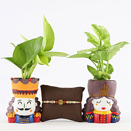 Foliage Plants Set With Designer Om Rakhi