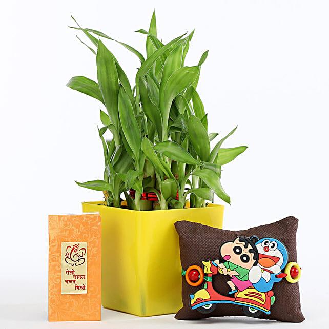 2 Layer Bamboo In Green Pot Shinchan Rakhi