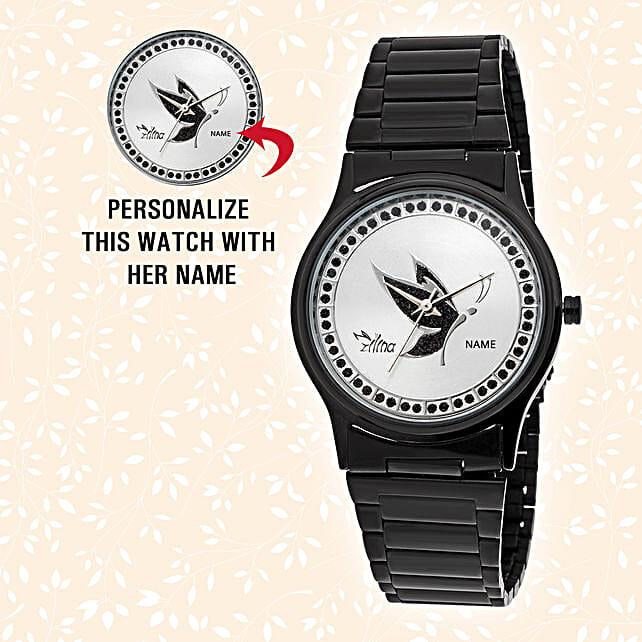 Elegant Black Personalised Watch:Personalised Wrist Watch
