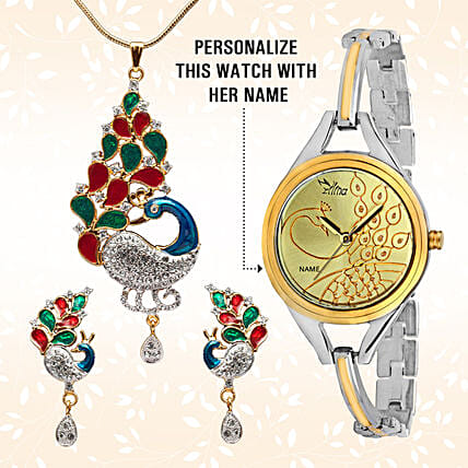 Personalised Watch & Colourful Pendant Set