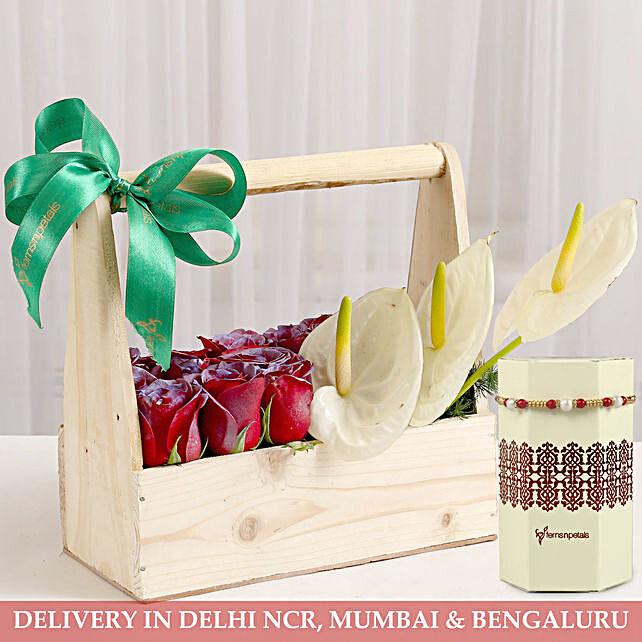 Beaded Rakhi and Flower Basket