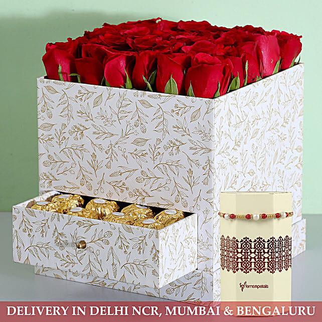Box Of Red Roses & Ferrero Rocher With Rakhi