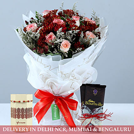 Bunch Of Red & Pink Flowers With Chocolate N Rakhi