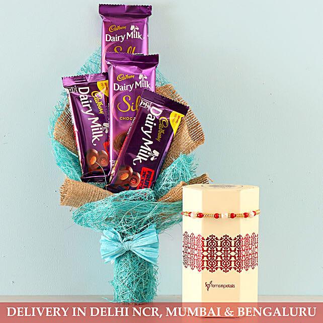 Pearl Rakhi & Dairy Milk Bouquet
