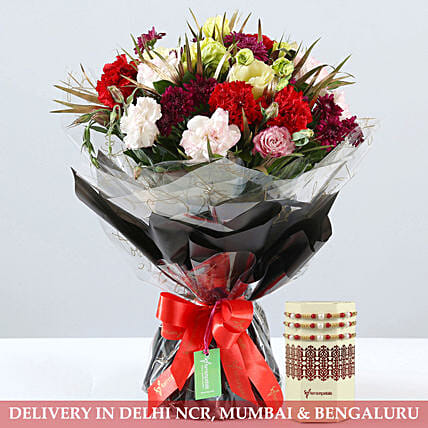 Carnations Daisy Bouquet With Pearl Rakhi Set
