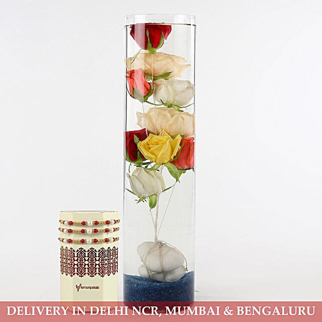 Colourful Roses In Glass Vase Pearl Rakhi Set