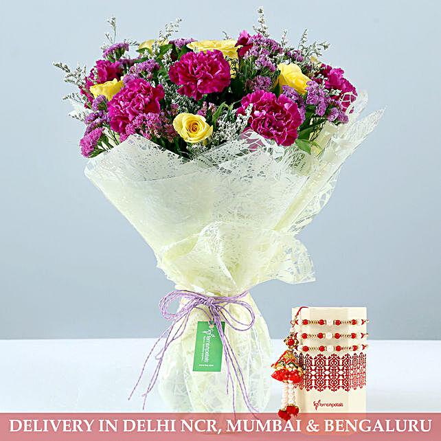 Purple Yellow Rose Bouquet With Lumba Rakhi Set