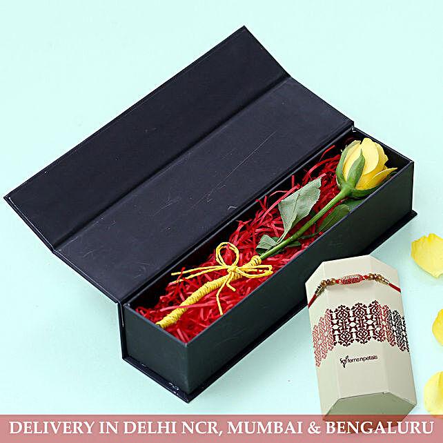 Sun Kissed Yellow Rose Designer Rakhi