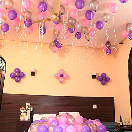 Colorful Balloons Decor Pink Purple & Silver 300