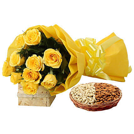 Combo of yellow roses bouquet and cashew nuts:Flower N Dry Fruit