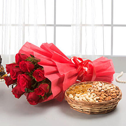 Roses with dryfruits - Bunch of 12 Red Roses Packing with and 1kg mixed dryfruit basket.