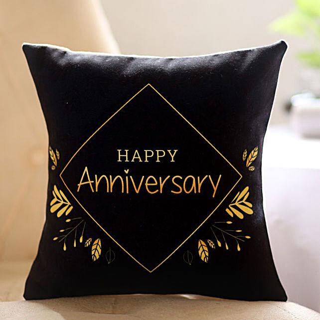 Black Happy Anniversary Printed Cushion