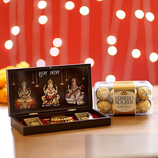 Ganesha Pooja Box and Chocolate Hamper:Ganesh and Lakshmi Idols