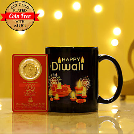 Free Gold Plated Coin With Black Diwali Mug