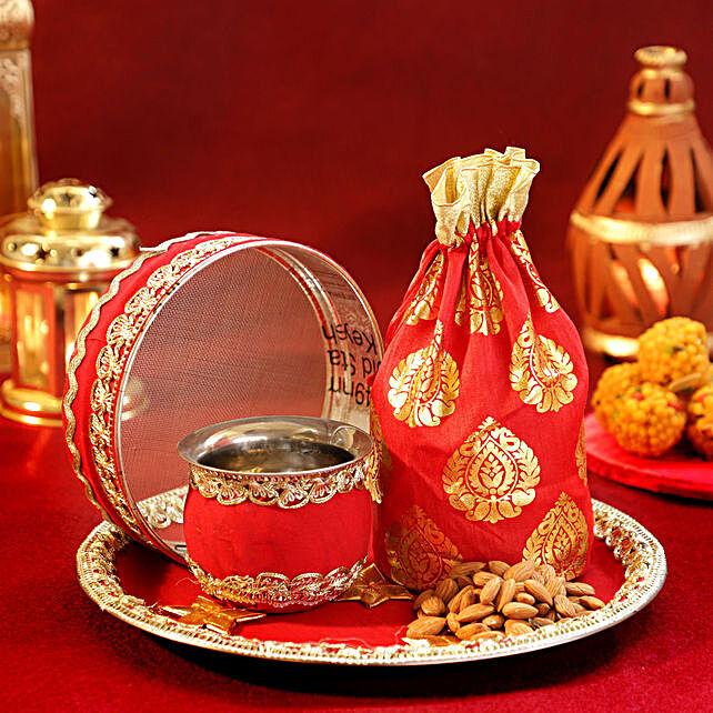 Almonds Sargi Red Velvet Thali Set